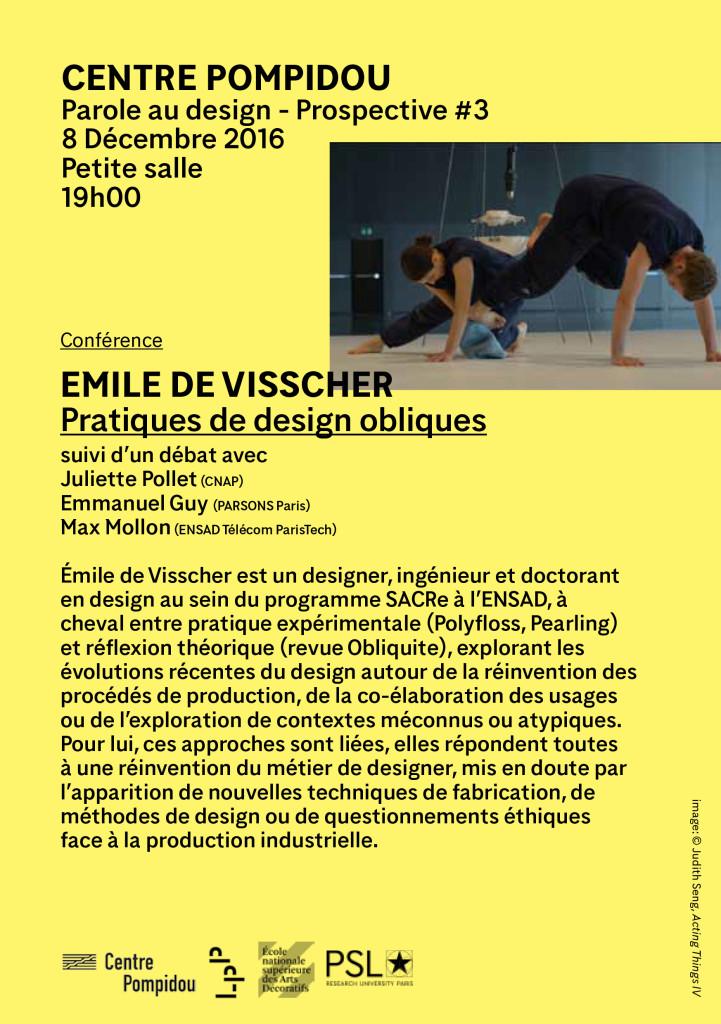 Affiche conférence Émile de Visscher @Centre-Pompidou